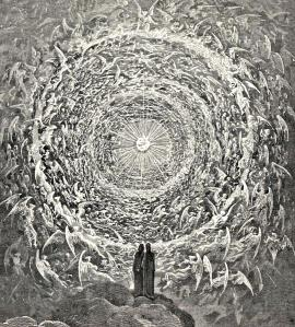 "Gustav Doré's drawing, ""Circle of Angels"" was inspired by Dante's Paradiso. A view of Heaven's Gate?"